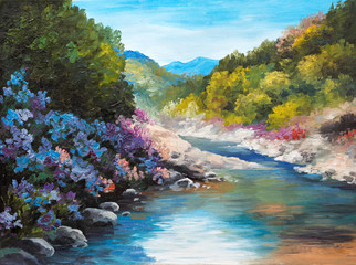 Oil Painting - mountain river, flowers near the rocks