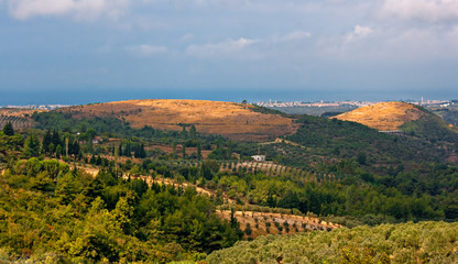 Panoramic view over open countryside