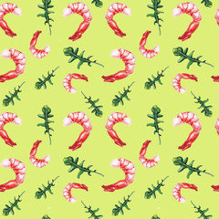 watercolor shrimp and rucola pattern