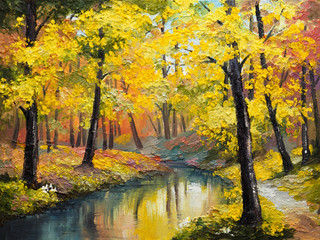 oil painting on canvas - autumn forest