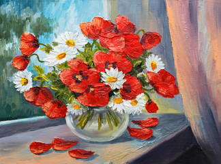 oil painting on canvas - bouquet of poppies