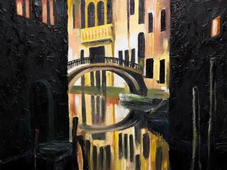 oil painting on canvas - Venetian bridge