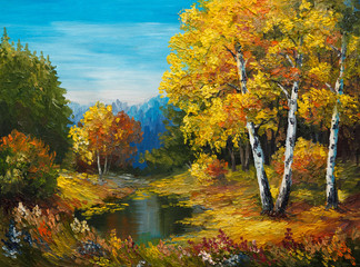 oil painting on canvas - autumn forest with a lake