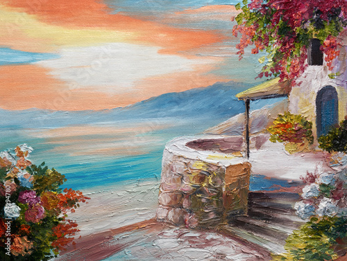 oil painting on canvas - Greek embankment - 74294780