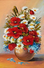 Oil painting of spring flowers in a vase on canvas. Abstract dra