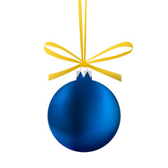 Blue Christmas ball with a bow. Isolated illustration