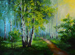 oil painting landscape - birch forest, abstract drawing, made in