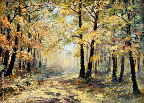 Obraz w ramie oil painting landscape - autumn forest, full of fallen leaves, c