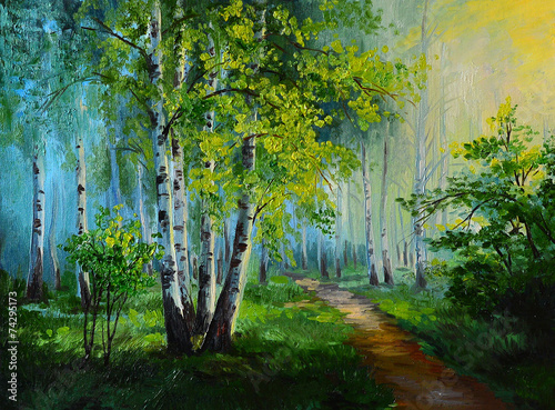Leinwandbild Motiv oil painting landscape - birch forest, abstract drawing, made in