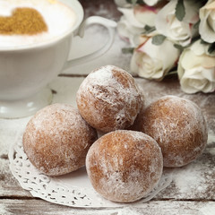 Donuts with powdered sugar
