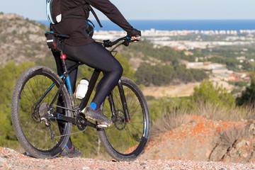 Mountain Bike cyclist enjoying view