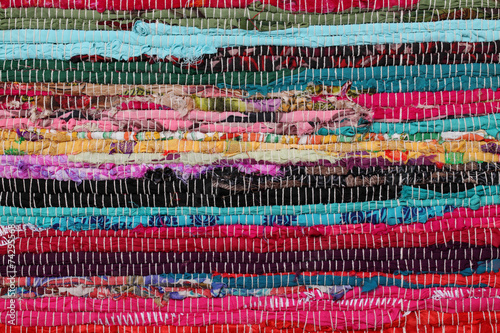canvas print picture Recycling, handmade colorful ethnic motley retro rug, carpet