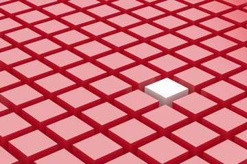 One white cube amongst a mass of red cubes