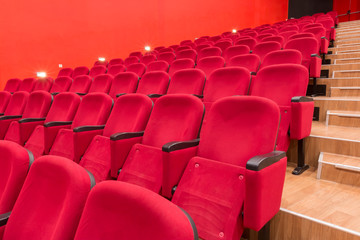 empty red cinema or theatere seats