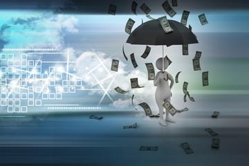 3d man and umbrella in money rain