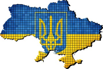 Ukraine Coat of Arms with flag inside
