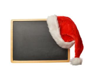 tafel mit weihnachtsmütze