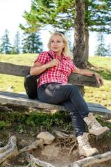Blonde hiker take a rest