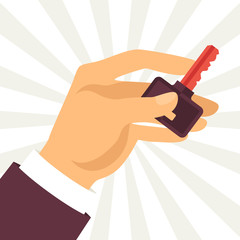Illustration of hand holding key in flat design style.