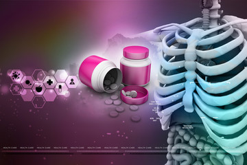 human anatomy  with medicine bottle