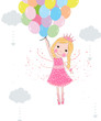 Obrazy na płótnie, fototapety, zdjęcia, fotoobrazy drukowane : Cute fairytale with balloons vector