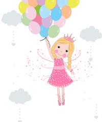 Cute fairytale with balloons vector