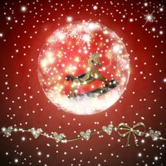 Rockinghorse inside shiny ball Christmas card