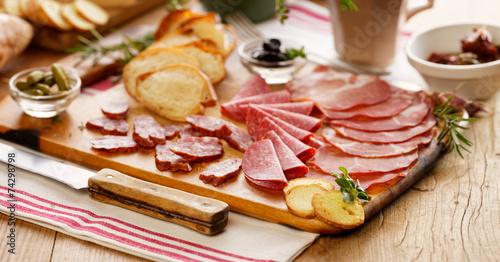 Meat board. Cured meat. Charcuterie.