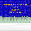 Happy New Year and Merry Christmas on the background of a winter