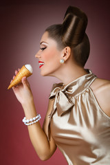 pretty Pin-up girl licking ice cream and smiling Pin-up