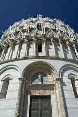 The entrance to the Baptistery in Pisa