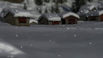 baite di alta montagna sotto la neve - effetto tilt shift