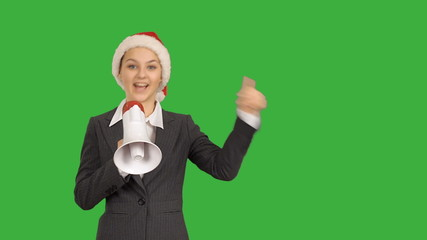 Young beautiful businesswoman showing copy space with  megaphone