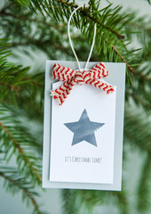 Vintage gift tag with ribbon IT'S CHRISTMAS TIME