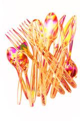 Colourful plastic cutlery