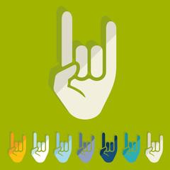 Flat design: rock hand gesture