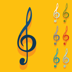 Flat design: treble clef