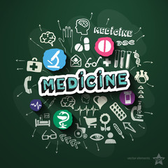Medical collage with icons on blackboard