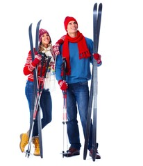 Woman and man with ski