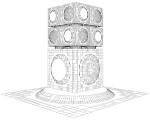 Futuristic Megalopolis City Skyscraper Structure Vector