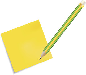 Sticky Note Icon and pencil