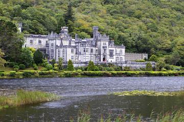 Kylemore Abbey on the lake.