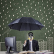 Businessperson with umbrella and mask