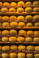 Cheese wheels  in Amsterdam store