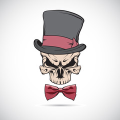 Skull wearing a hat. Vector.