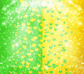 Abstract multicolored background with blur bokeh and hearts for
