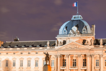 Ecole Militaire in Paris, Military School building at night