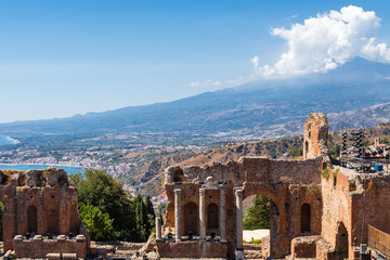 Greek theater in Taormina and Etna Mont