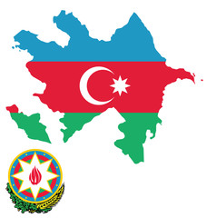 Flag and coat of arms of the Republic o Azerbaijan