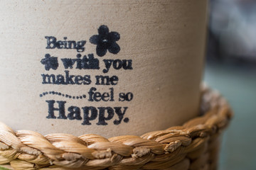 Flower pot with meaning words